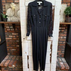 Vintage Lillie Rubin 80s lace back pants romper 4